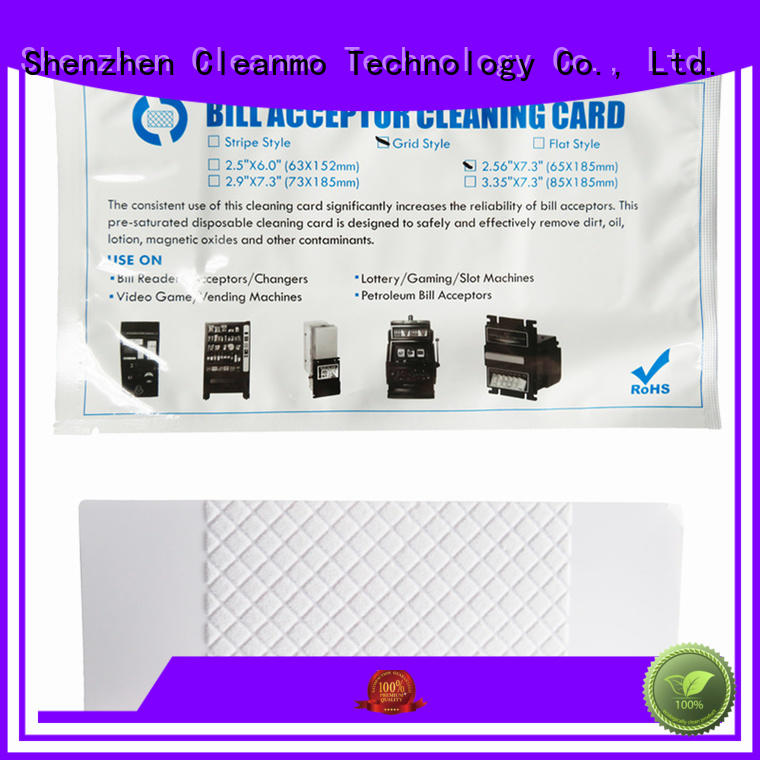 Cleanmo pvc bill validator cleaning cards factory for dollar bill readers