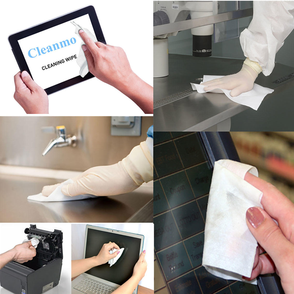 Cleanmo 40% Rayon Screen Cleaning Wipes factory for Check Scanners