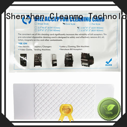 Cleanmo white atm cleaning cards manufacturer for currency counters