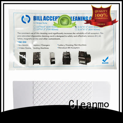 Cleanmo flocked fabric atm cleaning cards manufacturer for dollar bill readers
