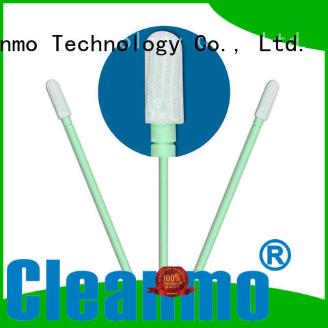 Cleanmo polypropylene handle polyester cleanroom swabs factory for optical sensors