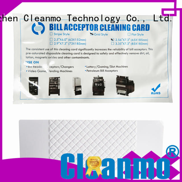 Cleanmo flocked fabric bill validator cleaning cards manufacturer for readers