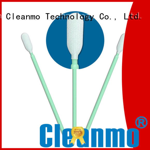 Cleanmo high quality knitted polyester swabs polypropylene handle for microscopes