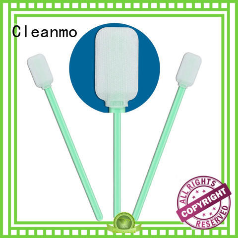 Cleanmo polypropylene handle polyester cleanroom swabs manufacturer for optical sensors