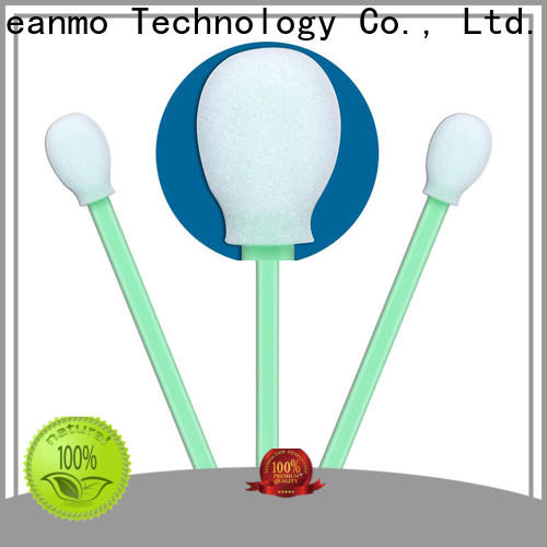 Cleanmo green handle oral sponge swabs supplier for Micro-mechanical cleaning