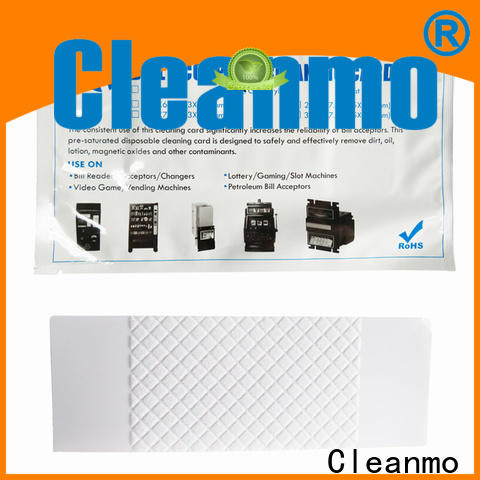Cleanmo flocked fabric dollar bill acceptor cleaning cards wholesale for readers