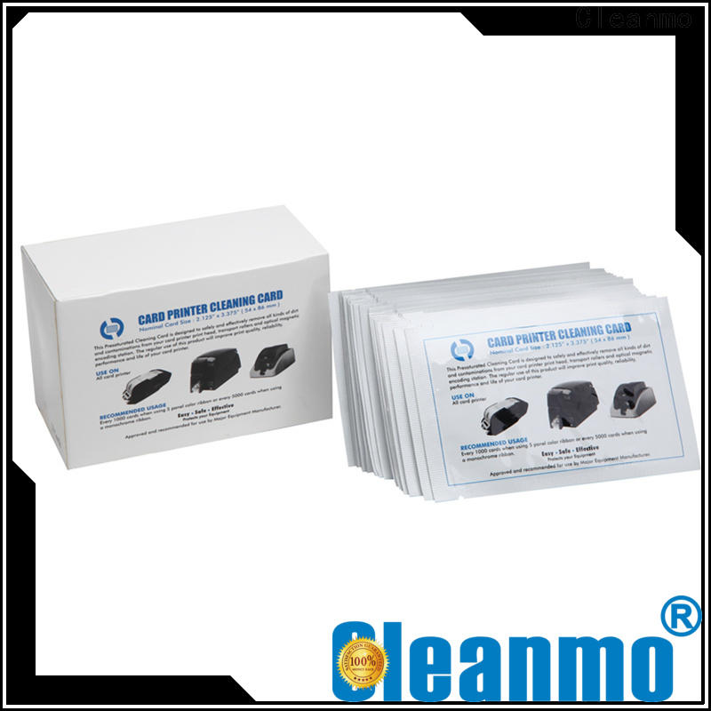 Cleanmo cost effective zebra printer cleaning cards manufacturer for ID card printers