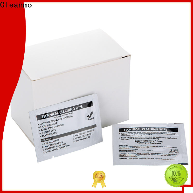 Cleanmo Hot-press compound Evolis Cleaning cards supplier for ID card printers