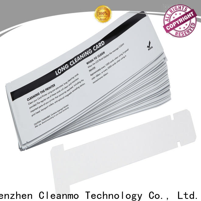Cleanmo disposable zebra cleaning card manufacturer for ID card printers