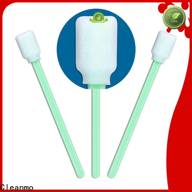 Cleanmo green handle polyester swab supplier for excess materials cleaning