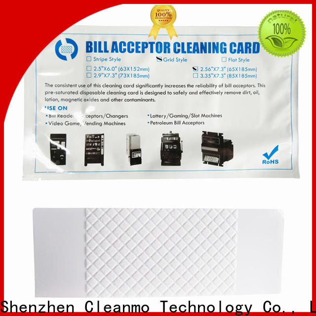Cleanmo pvc alcohol cleaning cards supplier for dollar bill readers